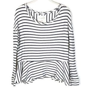 Free People Auntie Em striped ruffled thermal XS